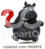 Clipart Of A 3d Chubby Black Horse Holding A Question Mark On A White Background Royalty Free Illustration