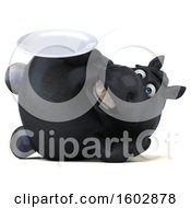 Clipart Of A 3d Chubby Black Horse Holding A Plate On A White Background Royalty Free Illustration