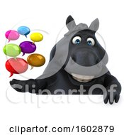 3d Chubby Black Horse Holding Messages On A White Background