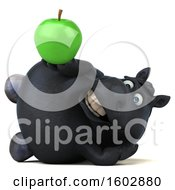Poster, Art Print Of 3d Chubby Black Horse Holding An Apple On A White Background