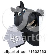 Clipart Of A 3d Chubby Black Horse Holding A House On A White Background Royalty Free Illustration
