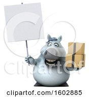 August 16th, 2018: Clipart Of A 3d Chubby White Horse Holding Boxes On A White Background Royalty Free Illustration by Julos