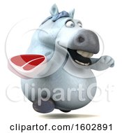 Poster, Art Print Of 3d Chubby White Horse Holding A Steak On A White Background