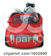 Poster, Art Print Of 3d Chubby White Horse Driving A Convertible On A White Background