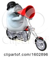 3d Chubby White Horse Biker Riding A Chopper Motorcycle On A White Background