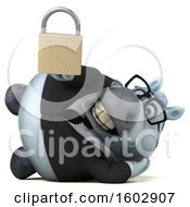 Poster, Art Print Of 3d Chubby White Business Horse Holding A Padlock On A White Background