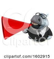 Clipart Of A 3d Chubby White Business Horse Using A Megaphone On A White Background Royalty Free Illustration by Julos