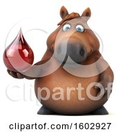 Clipart Of A 3d Chubby Brown Horse Holding A Blood Drop On A White Background Royalty Free Illustration