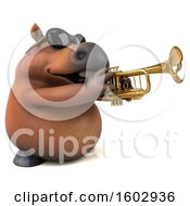 3d Chubby Brown Horse Playing A Trumpet On A White Background