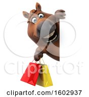 3d Chubby Brown Horse Holding Shopping Bags On A White Background