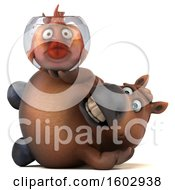 Poster, Art Print Of 3d Chubby Brown Horse Holding A Fish Bowl On A White Background