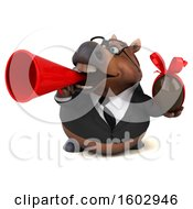Clipart Of A 3d Chubby Brown Business Horse Holding A Chocolate Egg On A White Background Royalty Free Illustration