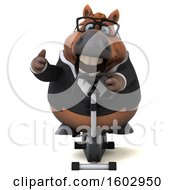 Clipart Of A 3d Chubby Brown Business Horse Exercising On A Spin Bike On A White Background Royalty Free Illustration