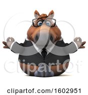 Clipart Of A 3d Chubby Brown Business Horse In A Lotus Pose On A White Background Royalty Free Illustration