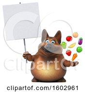 3d German Shepherd Dog Holding Produce On A White Background