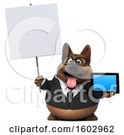 3d Business German Shepherd Dog Holding A Tablet On A White Background