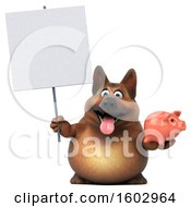 3d German Shepherd Dog Holding A Piggy Bank On A White Background