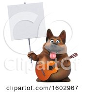 3d German Shepherd Dog Holding A Guitar On A White Background