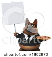 August 16th, 2018: Clipart Of A 3d Business German Shepherd Dog Holding A Pizza On A White Background Royalty Free Illustration by Julos