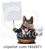 August 16th, 2018: Clipart Of A 3d Business German Shepherd Dog Holding A Tooth On A White Background Royalty Free Illustration by Julos