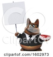 3d Business German Shepherd Dog Holding A Steak On A White Background