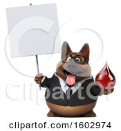 3d Business German Shepherd Dog Holding A Blood Drop On A White Background