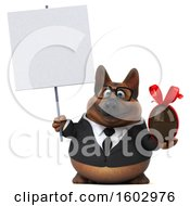 3d Business German Shepherd Dog Holding A Chocolate Egg On A White Background