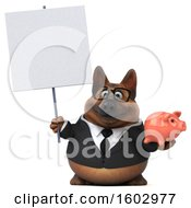 3d Business German Shepherd Dog Holding A Piggy Bank On A White Background