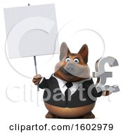 3d Business German Shepherd Dog Holding A Lira On A White Background