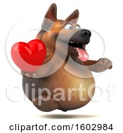 Poster, Art Print Of 3d German Shepherd Dog Holding A Heart On A White Background