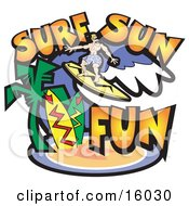 Surfer Dude Riding A Wave Near A Tropical Beach Clipart Illustration