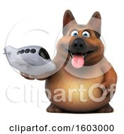 Poster, Art Print Of 3d German Shepherd Dog Holding A Plane On A White Background