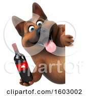 August 16th, 2018: Clipart Of A 3d German Shepherd Dog Holding Wine On A White Background Royalty Free Illustration by Julos