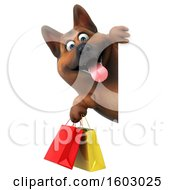 3d German Shepherd Dog Holding Shopping Bags On A White Background