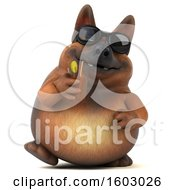 3d German Shepherd Dog Drinking A Beverage On A White Background