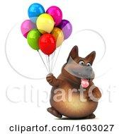 3d German Shepherd Dog Holding Balloons On A White Background
