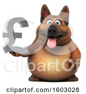3d German Shepherd Dog Holding A Lira On A White Background