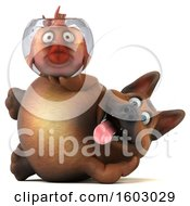 3d German Shepherd Dog Holding A Fish Bowl On A White Background