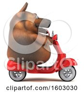 Clipart Of A 3d German Shepherd Dog Riding A Scooter On A White Background Royalty Free Illustration