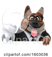 3d Business German Shepherd Dog Holding A Tooth On A White Background
