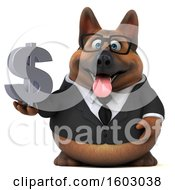 3d Business German Shepherd Dog Holding A Dollar Sign On A White Background