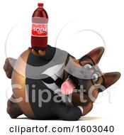 3d Business German Shepherd Dog Holding A Soda On A White Background