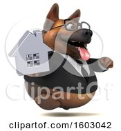 3d Business German Shepherd Dog Holding A House On A White Background