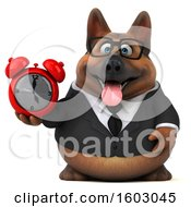 3d Business German Shepherd Dog Holding An Alarm Clock On A White Background