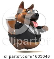 Poster, Art Print Of 3d Business German Shepherd Dog Holding A Beer On A White Background