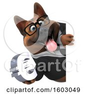 Poster, Art Print Of 3d Business German Shepherd Dog Holding A Euro On A White Background