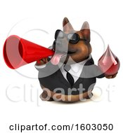 Clipart Of A 3d Business German Shepherd Dog Holding A Blood Drop On A White Background Royalty Free Illustration