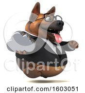 3d Business German Shepherd Dog Holding A Cloud On A White Background