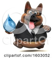 3d Business German Shepherd Dog Holding A Water Drop On A White Background