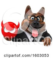 3d Business German Shepherd Dog Holding A Devil On A White Background